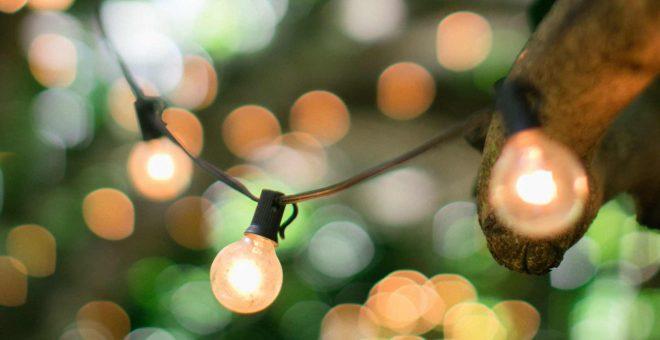 eljour-bakgrundsbild-hängande-glödlampor-utomhus-grönska-elektricitet